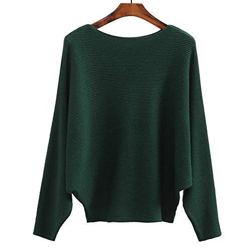 Womens Winter Sweaters Tops Fashion Batwing Sleeve Casual Cashmere Jumper Green