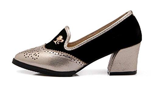 YCMDM donne da damigella d'onore scarpe da lavoro Scarpe Large Size singoli pattini Sandali , gold , 35