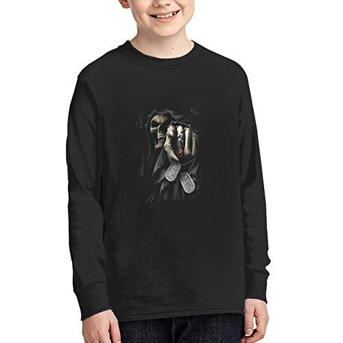 Grim Reaper Death Junior T-Shirt Teens Long Sleeve Tee Shirt Unisex Kids Tops S