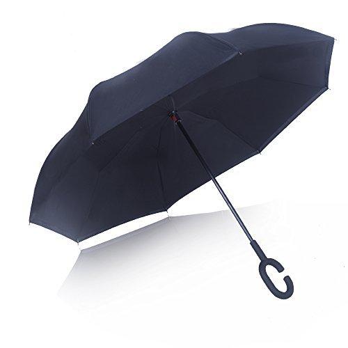 Strawberry Inverted Umbrella Carrying Black