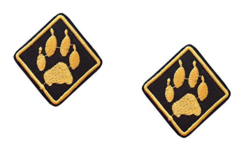 2 pieces ANIMAL FOOTPRINT Iron On Patch Applique Embroidered Motif Fabric Pet Cat Dog Paw Decal 2 x 1.9 inches (5 x 4.8 cm)