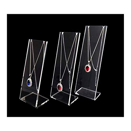 Modern Elegant Clear Acrylic Necklace Display Stands Jewelry Trade Show Store Exhibit Gallery Photo Taking Props Fine Presentation 3-PC Set