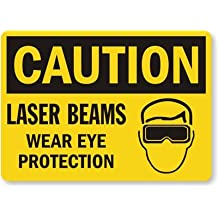 """Laser Beams Wear Eye Protection (With Graphic) Sign, 14"""" x 10"""""""