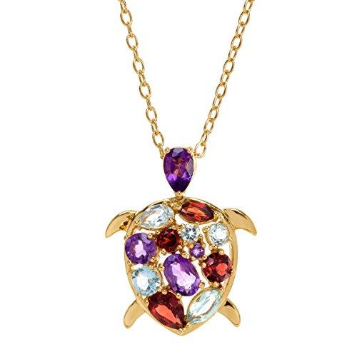 (2 ct Natural Amethyst, Garnet & Topaz Turtle Pendant Necklace in 18K Gold over Brass)