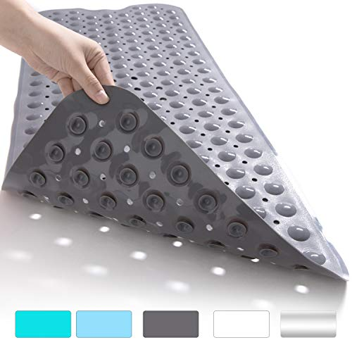 FEIRDIO Shower Bath Mat for Tub – Extra Large Size(35x 16 inch), Non Slip, Mildew Resistant, Antibacterial, BPA, Latex, Phthalate Free, Machine Washable Large Mats Materials FR1001