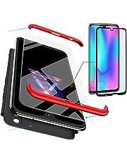 AILZH Funda Huawei Honor 10 Lite+Pantalla de Vidrio Templado Cubierta de 360 Grados Caja protección de cáscara Dura Anti-Shock Anti-rasguño del Protector Completo 360°Caso Mate(Rojo Negro)