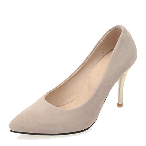 Amoonyfashion Femmes Bout Pointu Fermé Fermé Talons Hauts Imité? Daim Solide Chaussures-chaussures Abricot