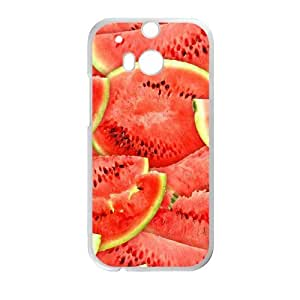 Hat Shark Custom Snap On - Watermelon Fruit Red & Green Stacked TPU Phone case cover for HTC One M8 white