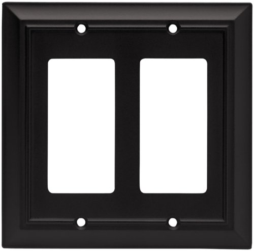 Black Standard Switch - Brainerd 64211 Architectural Double Decorator Wall Plate, Flat Black