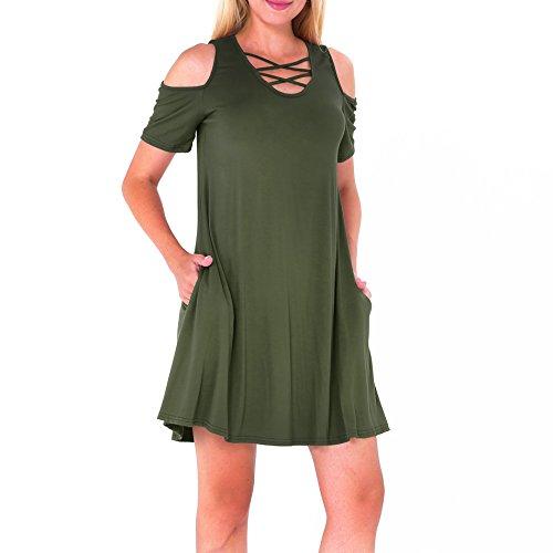 Women's Summer Cold Shoulder Short Sleeves Shift Dress Army Green Medium