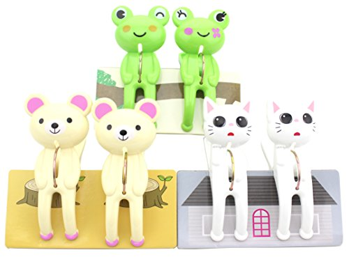 Set of 6 - Adorable Animal Cartoon Clothes Bath Towel Clip Holder - Quilt Hanging Clips Clamp Holder for Beach Chairs or Lounge Chair-Keep Your Belongings from Blowing Away (Multi Color-Frog/Cat/Bear)