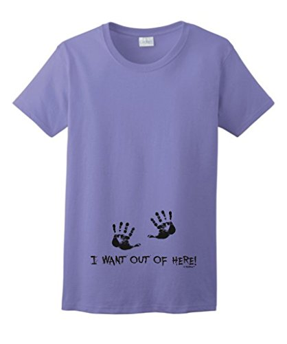 I Want Out of Here Funny Maternity Themed Ladies T-Shirt Large Violet