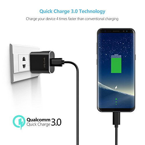 Quick Charge 3.0 Charger Kit for Samsung Galaxy S9 / Note 8 / S8, Jelly Comb Dual USB Car Charger + Wall Charger + 2 Pack USB Type C Cables for Galaxy S8 Plus, S9 Plus and More (Black) by Jelly Comb (Image #3)