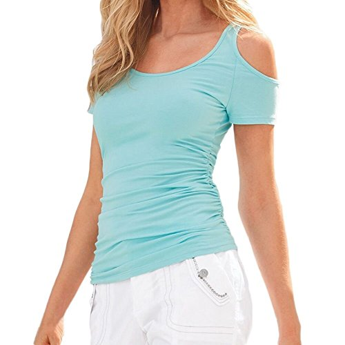 Begonia.K Women's Scoop Neck Tees Casual Ruched Short Sleeve Cold (Ruched Knit Top)