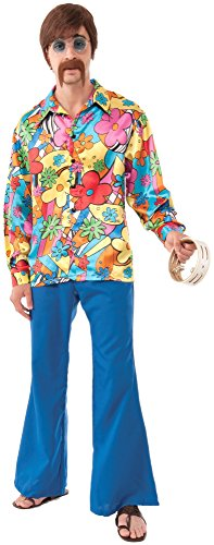 Groovy Hippie Costumes (Forum Novelties Men's Hippie Groovy Go Go Costume Shirt, Multi, Standard)