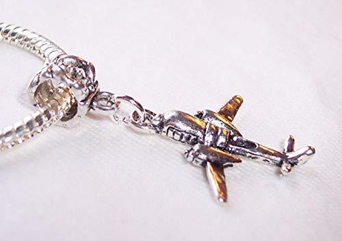 Airplane Double Engine Prop Plane Dangle Charm for European Bead Slide Bracelets Crafting Key Chain Bracelet Necklace Jewelry Accessories Pendants
