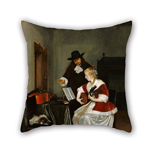 - eyeselect Oil Painting Gerard TER Borch (Dutch - The Music Lesson Pillow Shams 20 X 20 Inches / 50 by 50 cm Best Choice for Gf Divan Festival Kids Boys Drawing Room Girls with Each Side for Christmas