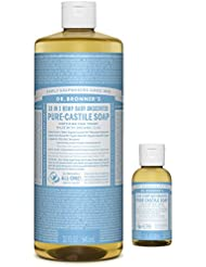 Dr. Bronner's Pure-Castile Liquid Soap – Baby Unscented Bundle. 32 oz. Bottle and 2 oz. Travel Bottle