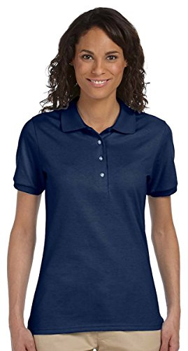 Jerzees womens 5.6 oz. 50/50 Jersey Polo with SpotShield(437W)-J NAVY-S Blue Branded Polo
