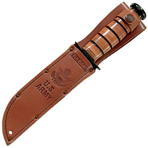 Ka-Bar 1220 US Army Straight Edge Fighting/Utility Knife with Leather Sheath