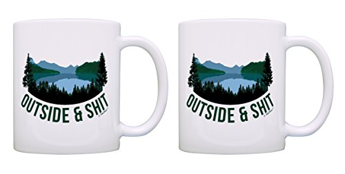 Set Sht (Funny Camping Gifts Outside & Sht Funny Coffee Mug Set Outdoorsy Gifts Cussing Mug Set Camping Mug Set 2 Pack Gift Coffee Mugs Tea Cups White)