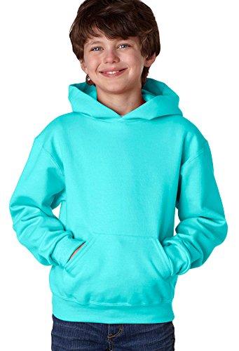 (Jerzees Youth 8 oz., 50/50 NuBlend Fleece Pullover Hood (996Y)- SCUBA BLUE,M)