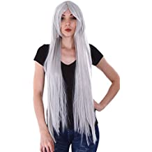 """Simplicity 40"""" Women Long Straight Cosplay Costume White Full Hair Wigs"""