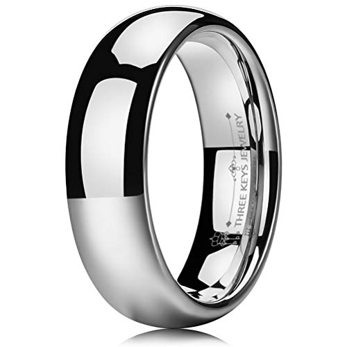 THREE KEYS JEWELRY 6mm Women's Wedding Ring White Tungsten Carbide Wedding Band Engagement Ring Silver Polished Dome Size 7 -
