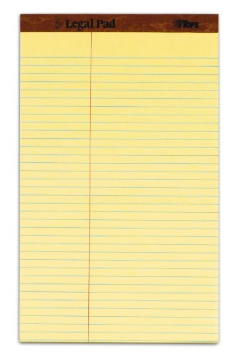 TOPS The Legal Pad Legal Pad, 8-1/2 x 14 Inches, Perforated, Canary, Law Rule, 50 Sheets per Pad, 12 Pads per Pack (75751)