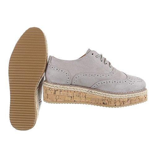 Ital-Design - Zapatos Planos con Cordones Mujer gris claro