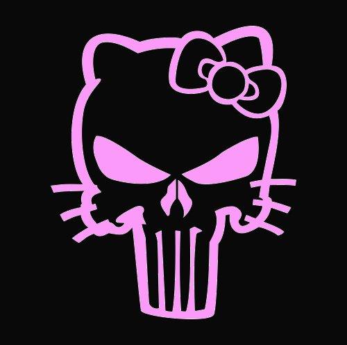 Hello Kitty Punisher Skull Decal Vinyl Sticker Cars Trucks Vans Walls Laptop  PINK  5.5 in CCI433