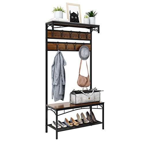 3-in-1 Entryway Coat Rack, Rackaphile Vintage Metal and Wood Hall Tree with Storage Bench Shoe Rack Entryway Storage Shelf Organizer with 18 Hooks -