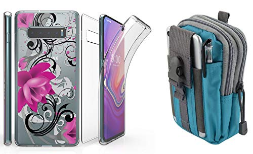 Beyond Cell Tri Max Series Compatible with Samsung Galaxy S10 with Slim Full Body Self Healing Screen Protector Case (Magenta Lotus Flower), Travel Pouch (Blue/Gray) and Atom Cloth ()