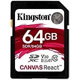 Kingston Canvas React 64GB SDXC Class 10 SD Memory Card UHS-I 100MB/s R Flash Memory High Speed SD Card (SDR/64GB)