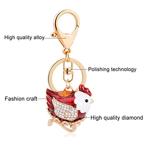 leomoste Shiny Crystal Diamond Keyring Cute Cartoon Chick Keychain Mini Bag Decoration Creative Gift for Girls and Women by leomoste (Image #5)