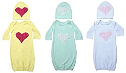 Unique Baby Baby-Girls 3-Pack Heart Design Bright Baby Gown and Matching Cap Newborn