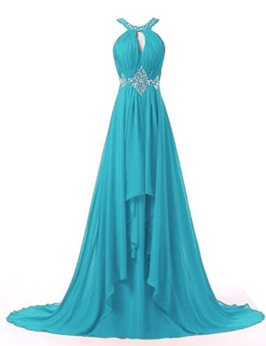 Prom Halter BD190 BessDress Empire Dresses Turqoise Long Chiffon Bridesmaid Beaded 8YW45Upr8
