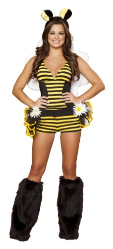 Roma Costume 3 Piece Bumble Bee Babe Costume, Black/Yellow, Medium/Large