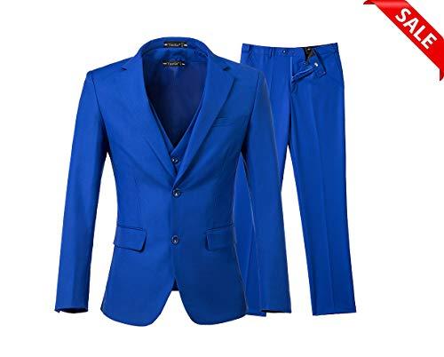 Yanlu Men's 3 Piece Royal Blue Suits 2 Buttons Wedding Groom Tuxedos