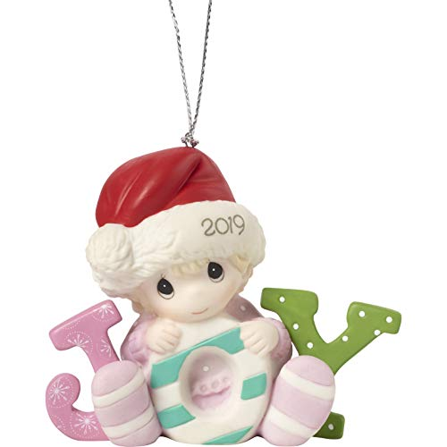 Precious Moments Baby's First Christmas 2019 Dated Bisque Porcelain Girl 191005 Ornament, One Size, Multi (Ornament Babys Moments Precious First)