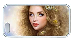 Cute DIY iphone 5 cases Smiling blond girl TPU White for Apple iPhone 5/5S