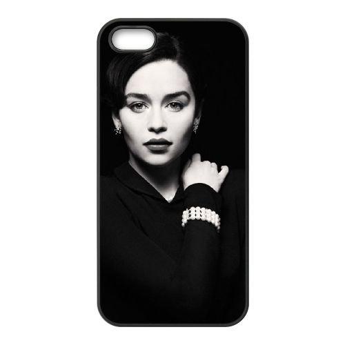 Emilia Clarke1 coque iPhone 4 4S cellulaire cas coque de téléphone cas téléphone cellulaire noir couvercle EEEXLKNBC24864