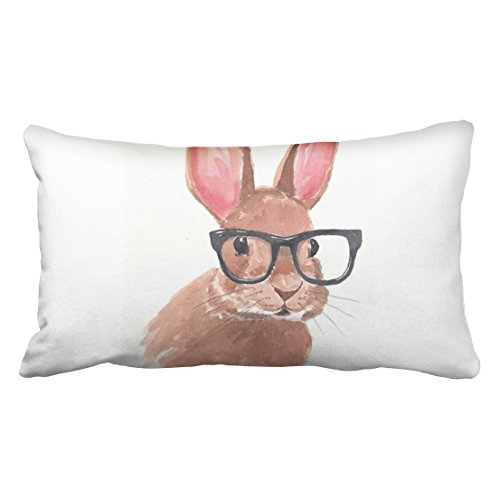- Accrocn Pillowcases cute funny easter bunny rabbit glasses Polyester 20 x 36 Inch Rectangle With Hidden Pillow Covers Zipper Home Sofa Cushion Decorative Pillowcase