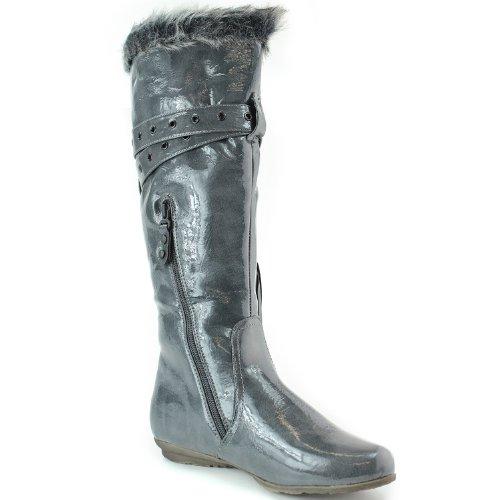 Mi-mollet Fourrure Frange Décorée Fermeture À Glissière Genou Chaud Haute Boucle Sangle Bottes Chaussures De Mode Gris
