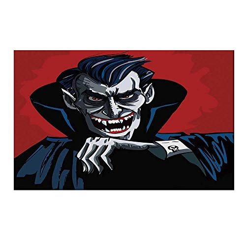 YOLIYANA Vampire Durable Door Mat,Cartoon Cruel Old Man with Cape Sharp Teeth Evil Creepy Smile Halloween Theme for Home Office,15.7