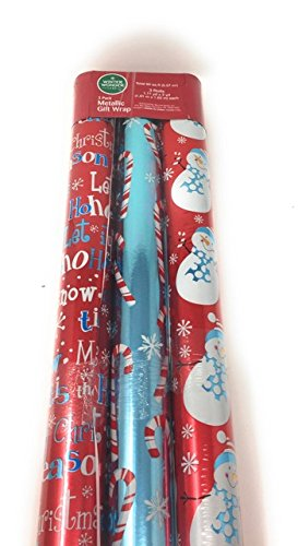 Metallic Christmas Gift Wrapping Paper for The Holiday Season ~ Candy Canes, Snowman, Snow Flakes, Merry Christmas, Tis The Season, Ho Ho Ho