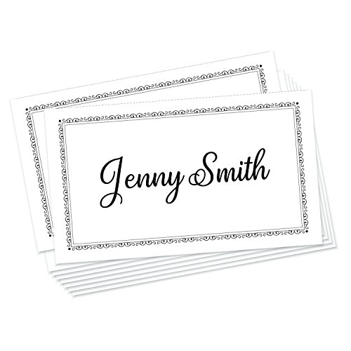 Jot & Mark Place Cards 50 Count | Formal Black White Table Tents Weddings, Dinner Parties Corporate Events