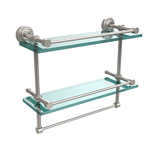 Allied Brass WP-2TB/16-GAL-SN 16 Inch Gallery Double Glass Shelf with Towel Bar Satin Nickel
