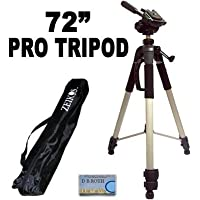 Professional PRO 72 Super Strong Tripod With Deluxe Soft Carrying Case For The JVC Everio GZ-HD320, HD300, HM200, MS130, MS120, MS100, MG255, MG155, MG130 High Definition Camcorders