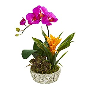 Artificial Flowers -Orchid Bromeliad Succulent Ruby Arrangement in Planter 62